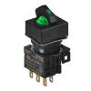 S16SRS-L3GC5 GREEN/2(R-0-R)/1C/LED 5V Селекторный переключатель, квадратный, 16 мм