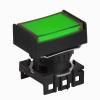 S16PRT-H3G GREEN Кнопочный выключатель, прямоугольные, позиция: 16 мм,тип ограждения: с ограждением с 2 сторон, тип эксплуатации: с возвратом (с подсветкой), зеленый