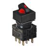 S16SRS-L6R2C12 RED/2(R-0-S)/2C/LED 12V Селекторный переключатель, квадратный, 16 мм