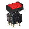 S16PRT-H3R2C12 RED/2C/LED 12V Кнопочный выключатель, прямоугольный, 16 мм
