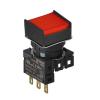 S16PRS-H1RC RED/1C Кнопочный выключатель, квадратный, позиция: 16 мм,тип ограждения: с ограждением с 2 сторон, тип эксплуатации: возврат, красный, блок контакта: контакт С:1