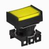 S16PRT-H4Y YELLOW Кнопочный выключатель, прямоугольные, позиция: 16 мм,тип ограждения: с ограждением с 2 сторон, тип эксплуатации: фиксируемый (с подсветкой), желтый