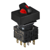 S16SRT-L3R2C5 RED/2(R-0-R)/2C/LED 5V Селекторный переключатель, прямоугольный, 16 мм