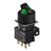 S16SR-L4GC12 GREEN/2(S-0-S)/1C/LED 12V Селекторный переключатель, круглый, 16 мм